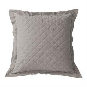 Diamond Pattern Linen Quilt King Pillow Sham (1) Grey