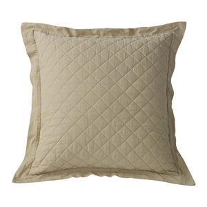 Diamond Pattern Linen Quilt King Pillow Sham (1) Khaki