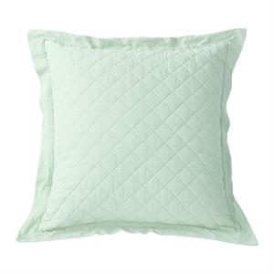 Diamond Pattern Linen Quilt Euro Pillow Sham (1) Sea Foam