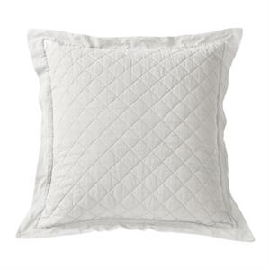Diamond Pattern Linen Quilt Euro Pillow Sham (1) Vintage White