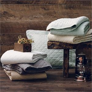 Diamond Pattern Linen Quilt Khaki