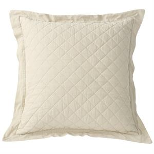 Diamond Pattern Linen Quilt King Pillow Sham (1) Cream