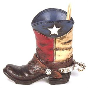 Texas Flag inspired Lone Star Texas Cowboy Boot Toothpick Holder