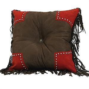Red Rodeo Tooled Faux Leather Pillow