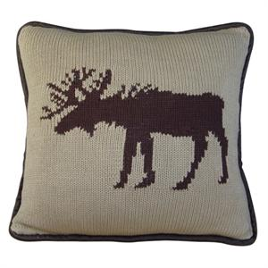 Moose Knitted Pillow Wilderness Ridge