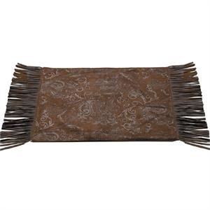 Western Floral Design Faux Tooled Leather Placemats (4) Chocolate