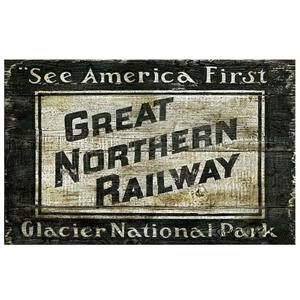 Great Northern Pacific Railway Vintage Wood Sign
