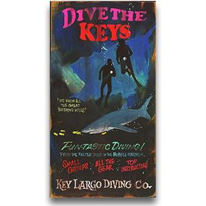 DIVE THE KEYS Vintage Wood Sign
