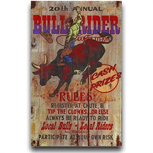Bull Rider Vintage Western Decor Wood Sign 20x32