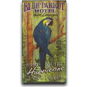 Blue Parrot Hotel Vintage Style Wood Sign