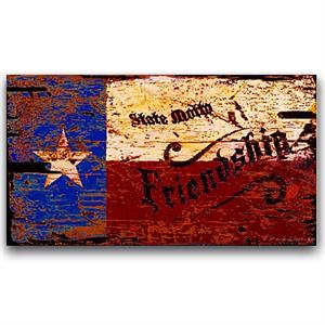 Texas Friendship Vintage Wood Sign