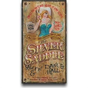 Silver Saddle Vintage Western Decor Wood Sign