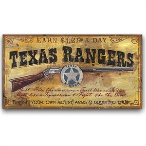 Texas Rangers Vintage Western Decor Wood Sign