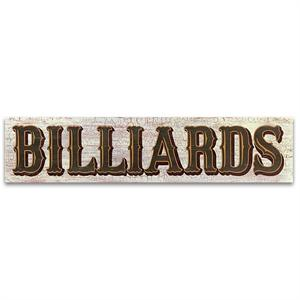 Billards Vintage Wood Game Room Sign