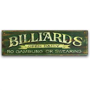 Billards Green Vintage Game Room Decor Wood Sign