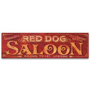 Red Dog Saloon Vintage Wood Western Sign