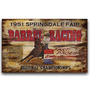 Barrel Racing Vintage Western Decor Wood Sign
