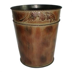 Image of Pine Cone Rustic Decor Styled Metal Wastebasket