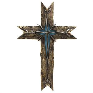 Rustic Wood Wire Cowboy Cross Turquoise