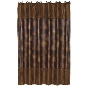 Faux Leather Rustic Shower Curtain
