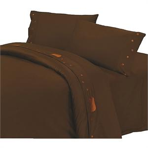 Western Bedding Bears Embroidered Sheet Set (Chocolate)Fits Pillow Top