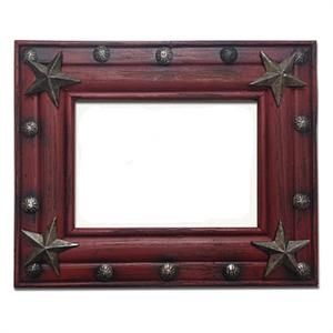 Star Rustic Wood 5x7 Picture Frame Red
