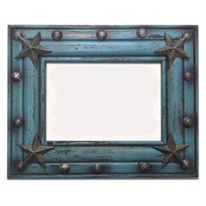 Star Rustic Wood 5x7 Picture Frame Turquoise