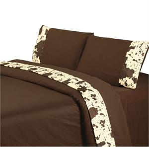 Caldwell Ranch Printed Cowhide Sheet Set King (Chocolate)