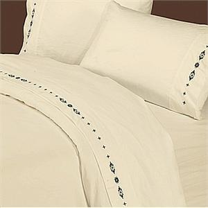 Navajo Embroidered Sheet Set-Cream (Twin)