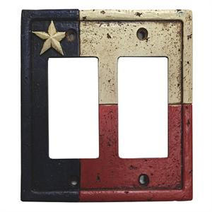 Rustic Texas Flag Switch Wall Plate Double Rocker Switch Texas Rustic Decor