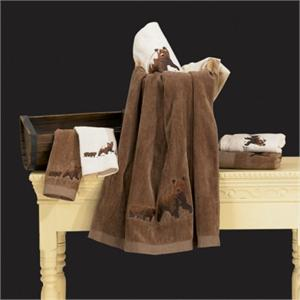 Bear Bath Towel Set Mocha (3) Pc Embroidered