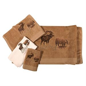 Bath Towel Set Moose Scene Mocha Color