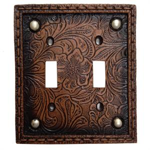 Tooled Western Decorative Switch Wall Plate Double Switch