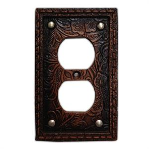 Tooled Western Decorative Outlet Wall Plate Single
