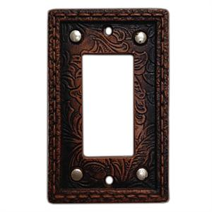 Tooled Western Decorative Switch Wall Plate Single Rocker Switch