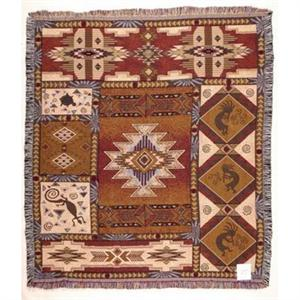 Kokopelli Southwestern Afghan Throw Blanket