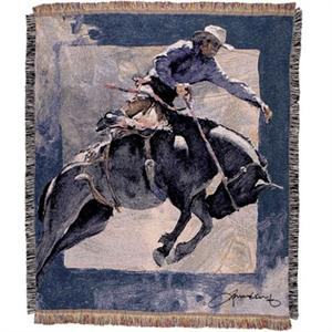 Countdown In Blue Bronc Rider Western Afghan Throw Blanket