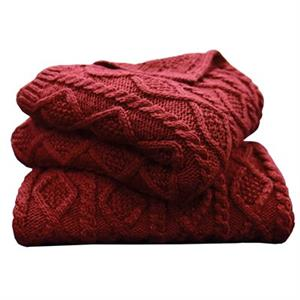 picture of red cable knitted throw blanket