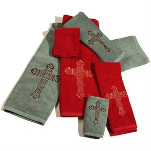 Cross Rodeo Red Embroidered Bath Towel Set (3) Pc