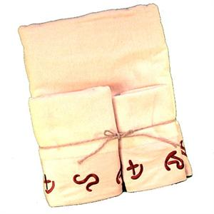 Cattle Ranch Brands Cream Embroiderd Bath Towel Set (3) Pc