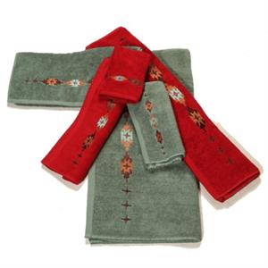 Navajo Embroidered Design Towel Set (Turquoise or Red)