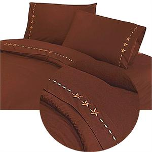 Laredo Star Western Bedding Sheet Set Chocolate Mocha