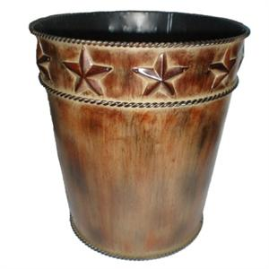 Image of Star Western Styled Decor Rustic Metal Wastebasket