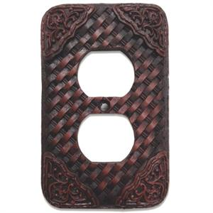 Basketweave Western Decorative Outlet Wall Plate Single
