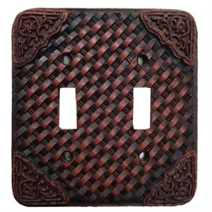 Basketweave Western Tooled Switch Wall Plate Double