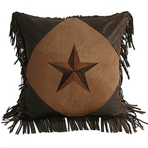 Laredo Star Embroidery Chocolate Mocha and Dark Tan Diamond Pillow