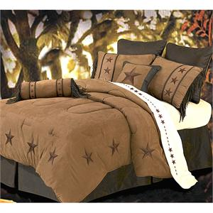 Laredo Star Embroidery Dark Tan Comforter Set Style 2018TAN