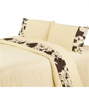 Caldwell Ranch Printed Cowhide Sheet Set (Cream) King