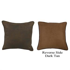 Distressed Faux Leather Chocolate Mocha Euro Sham
