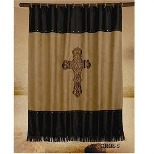 Cross Dark Tan Embroidered Shower Curtain